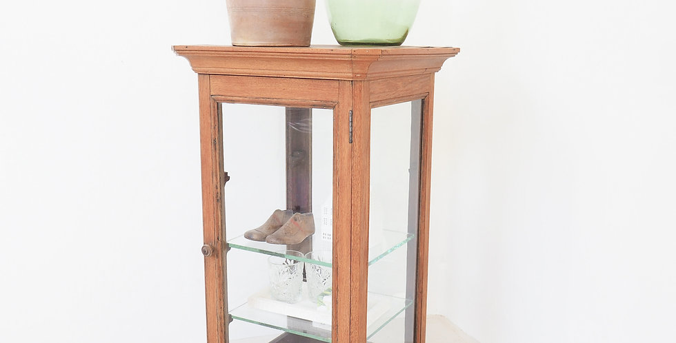 French Oak & Glass Shop Counter Vitrine
