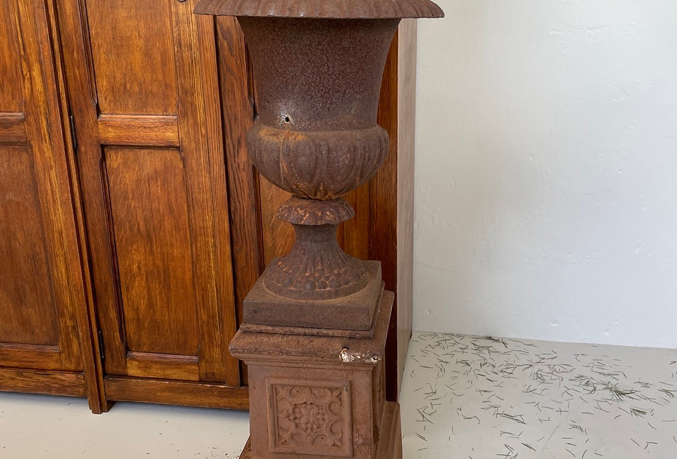 Cast Iron Urn on Plinth