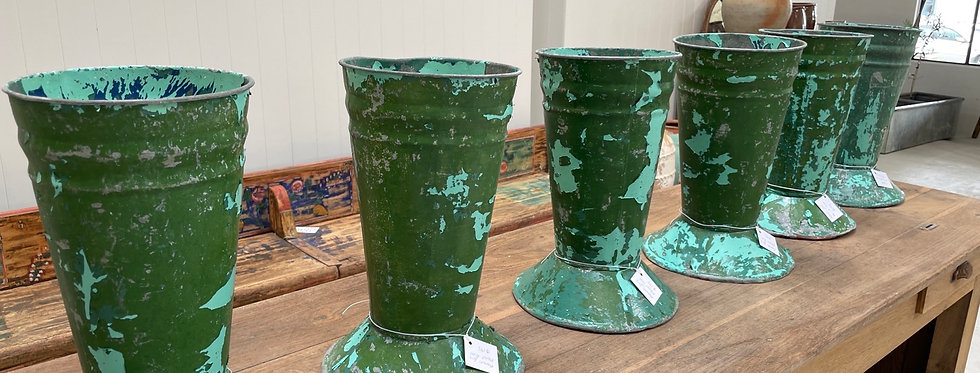French Painted Zinc Florist Vases