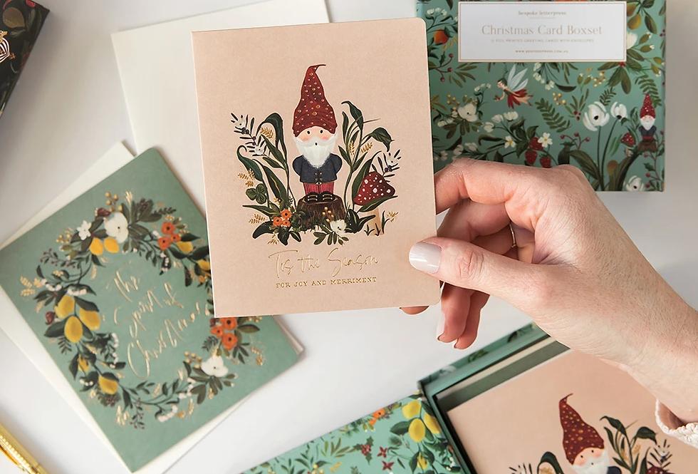 Bespoke Letterpress 10 Pack Greeting Card Boxset - Mint Christmas