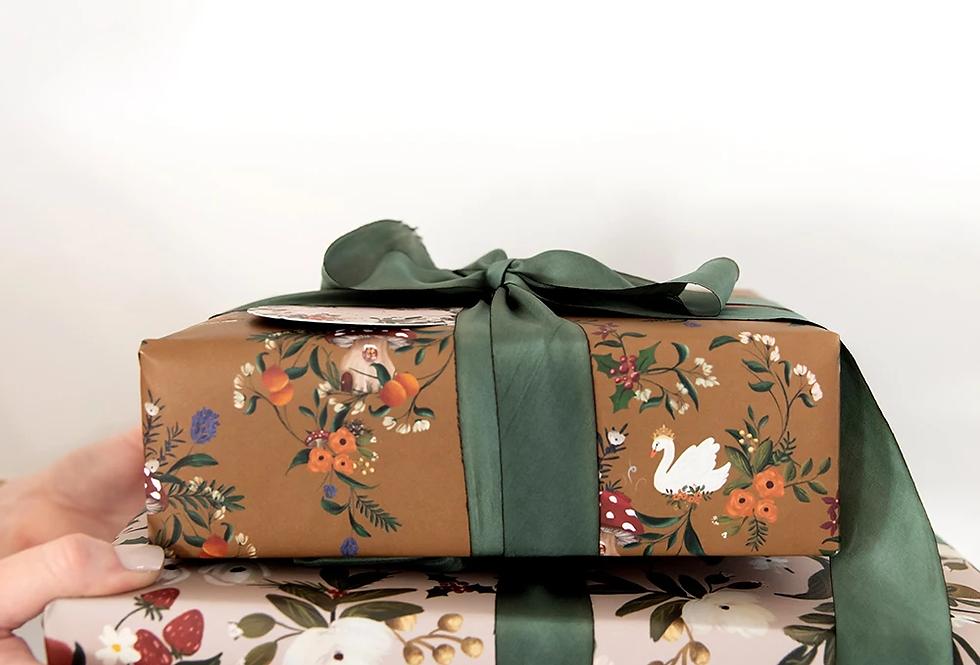 Bespoke Letterpress Giftwrap - Christmas Pears / Swan Queen