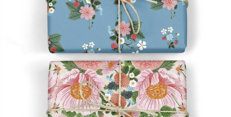 Bespoke Letterpress Giftwrap - Garden Party / Strawberries