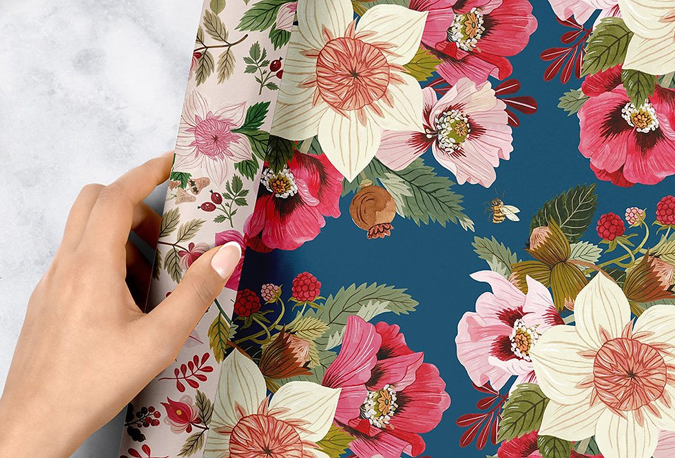 Bespoke Letterpress Giftwrap - Midsummer Florals