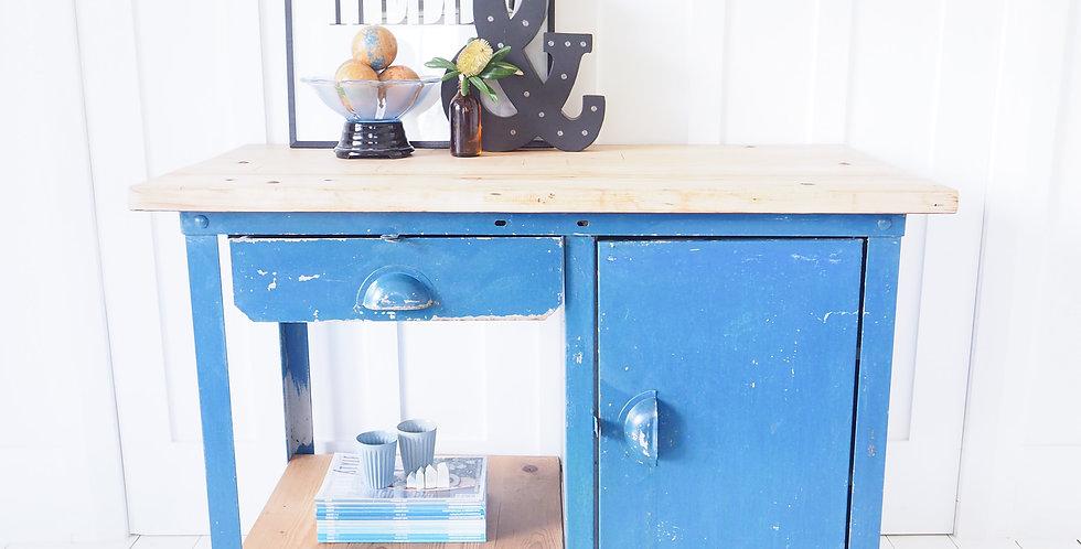 Industrial Blue Steel & Timber Workbench