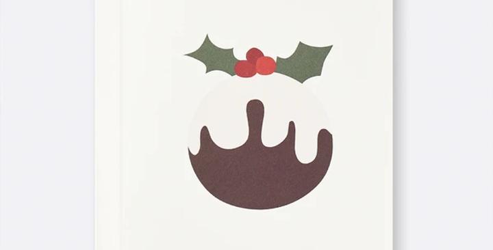 Father Rabbit Christmas Card - Christmas Pudding