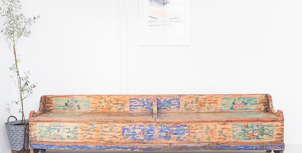 Hungarian Folk Art Bench Seat w/ Storage