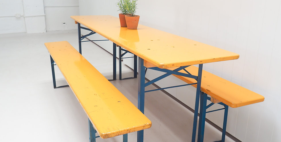 Beer Table Set - Mustard with Blue Legs