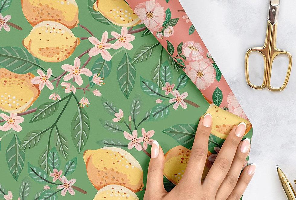 Bespoke Letterpress Giftwrap - Lemons & Camellias