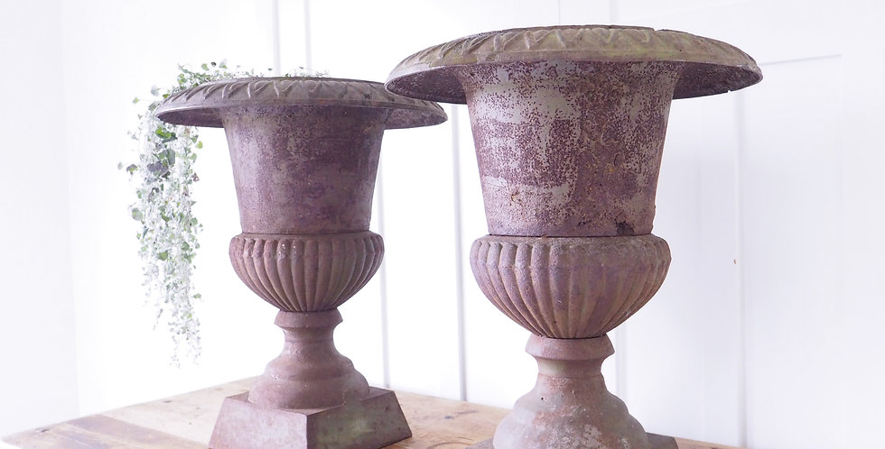 Extra Large Cast Iron Urns - Pair