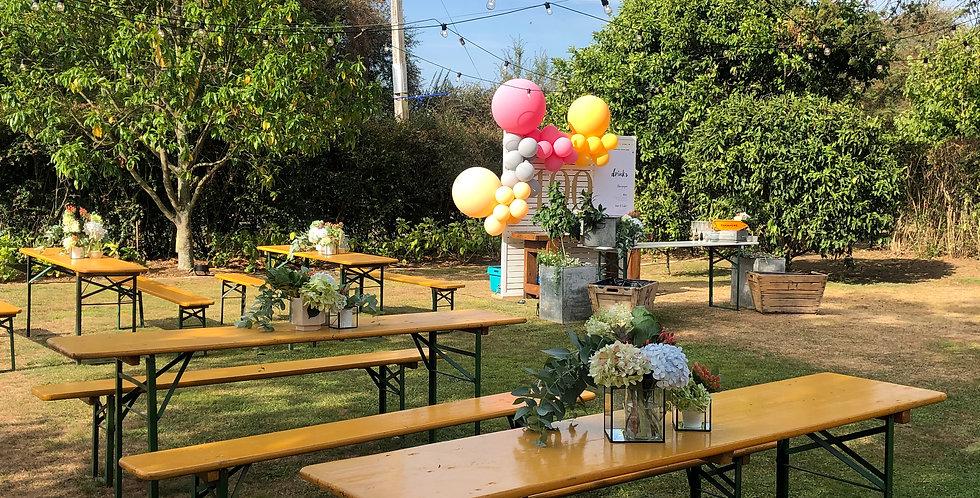 German Beer Garden Table & Bench Seats - BRIGHT MUSTARD