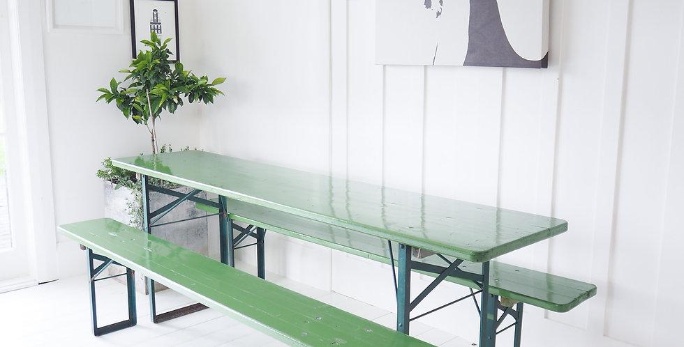 German Beer Garden Table & Bench Seats - GREEN