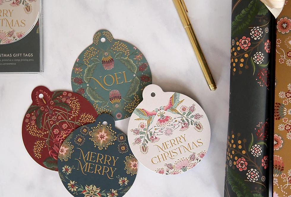 Bespoke Letterpress - Kaleideflora Bauble Christmas Tags - 12 pack