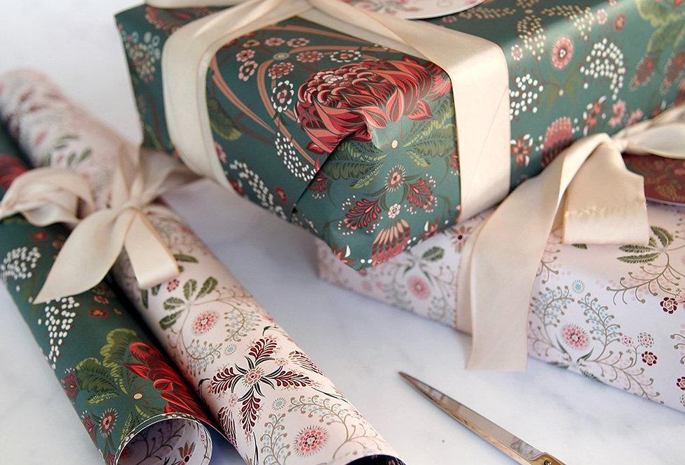 Bespoke Letterpress Giftwrap - Bush Teal / Grevillea
