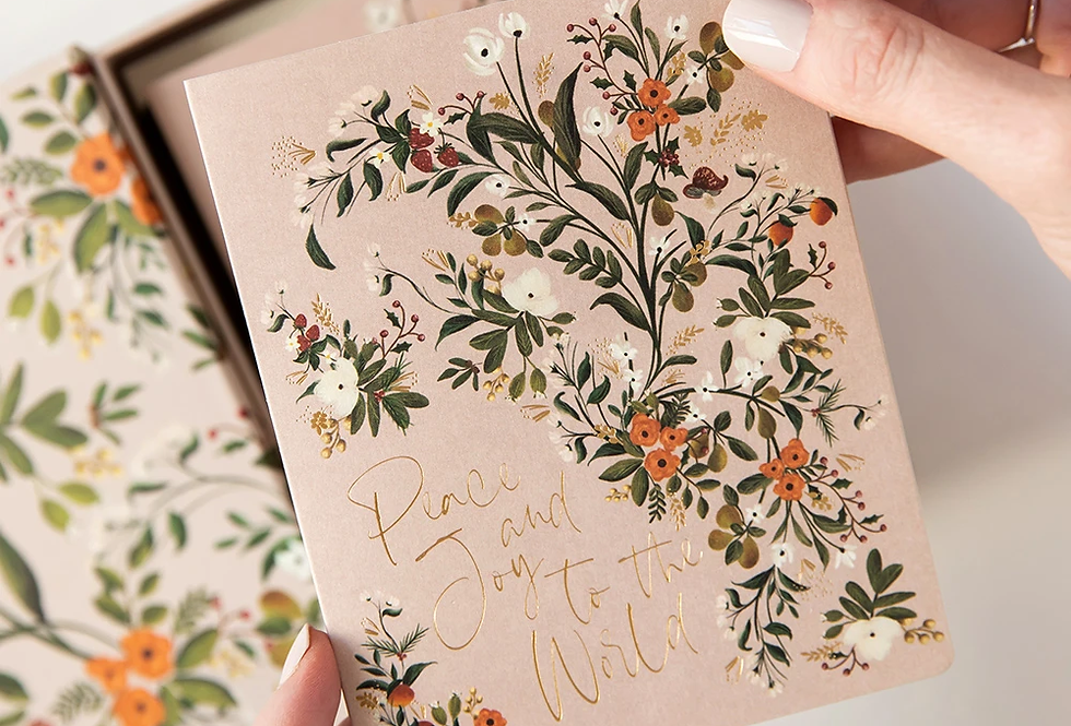Bespoke Letterpress 10 Pack Greeting Card Boxset - Blush Christmas