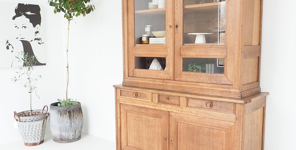 Vintage French Solid Oak Display Cabinet