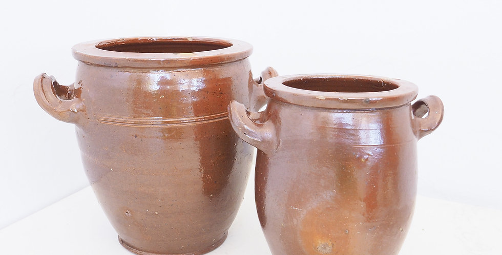 French Stoneware Confit Pots - Brown