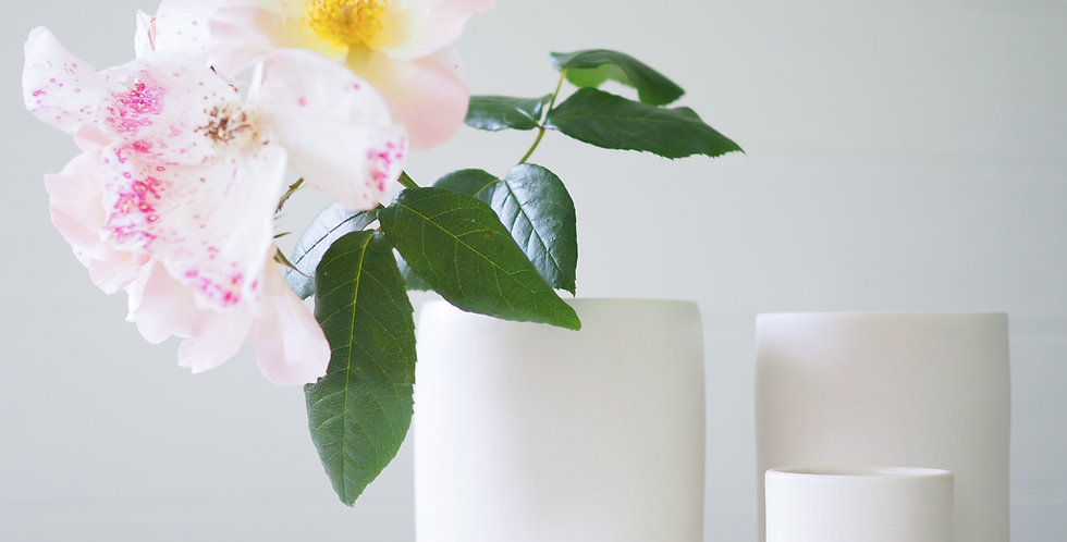 Notary Ceramics Cylinder Vase - White