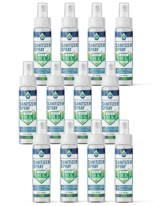 12-Pack 2 oz Fragrance-Free Sanitizer Spray