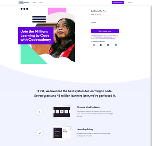 Example of good landing page from Codecademy