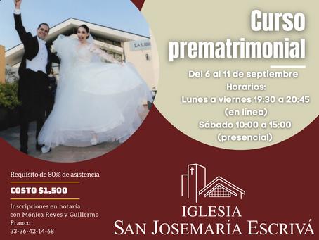 Curso Prematrimonial 6 al 11 de septiembre 2021