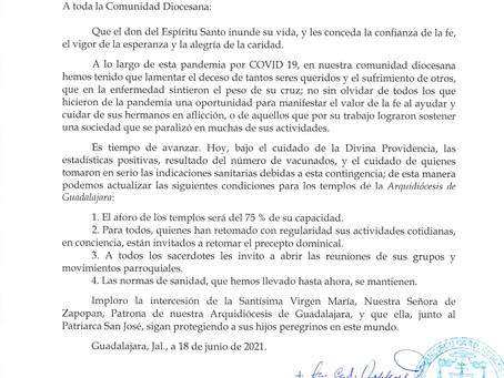 Nuevas normas respecto a la pandemia a partir del 18 de junio 2021