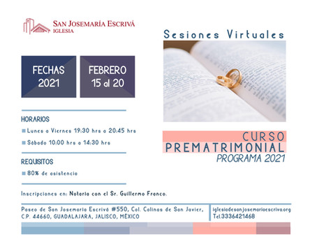 Curso prematrimonial febrero 2021