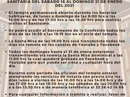 AVISO ENTORNO AL COVID-19 AL 16 DE ENERO DEL 2021