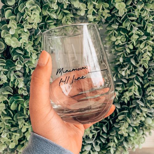 Minimum Refill Line Spill Proof Wine Glass