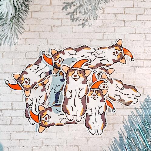 Cute Corgi Christmas Sticker