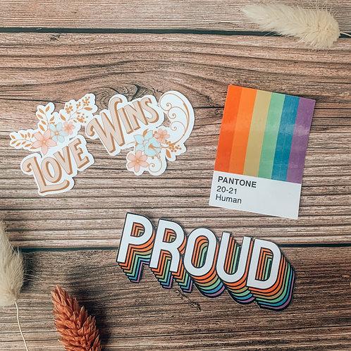 Pride Sticker Bundle   50% of Proceeds Donated   Laptop Sticker   Water Bottle S