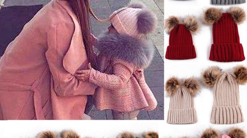 Matching Mom & Children's Soft Winter Beanie