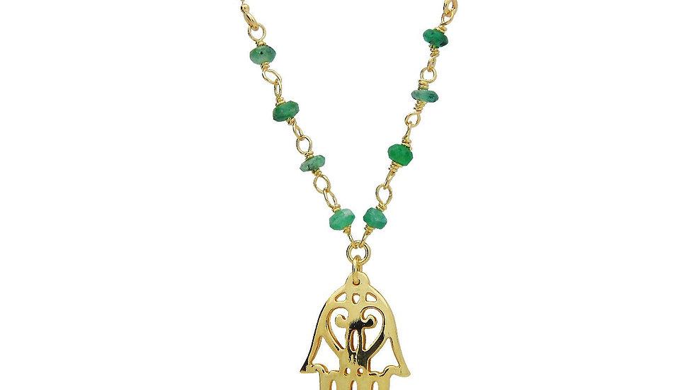 Green Jade Golden Hamsa Hand Necklace