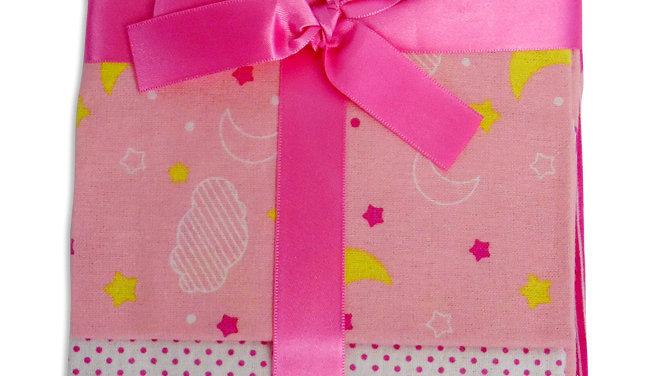 Bambini Pink Four Pack Burp Cloths