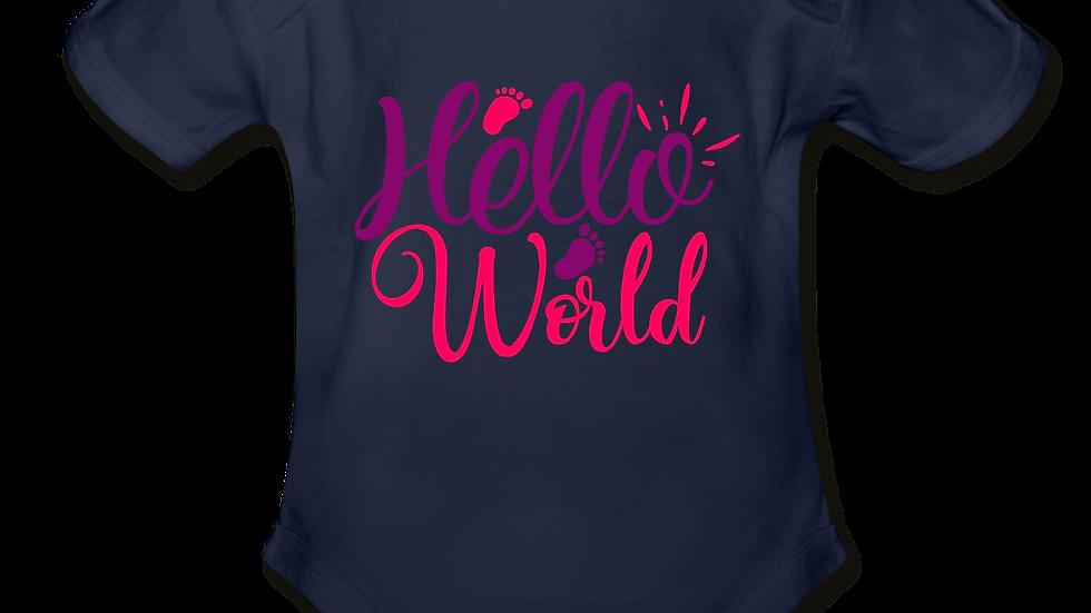 """Hello World"" Short Sleeve Baby Bodysuit"