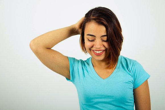 Cuello v femenina AZUL MARINO