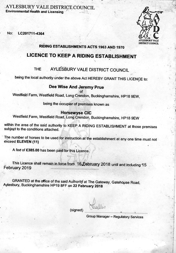 Image of the riding school license