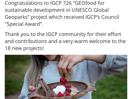GEOfood project awarded by the UNESCO International Geoscience Programme 😀