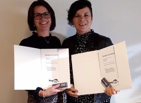 Certificaat voor Anke en Marjolein
