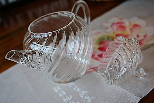 [make it clear] Glass tea pot with wave