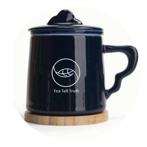 Tea Tell Truth navy blue tea mug with filter