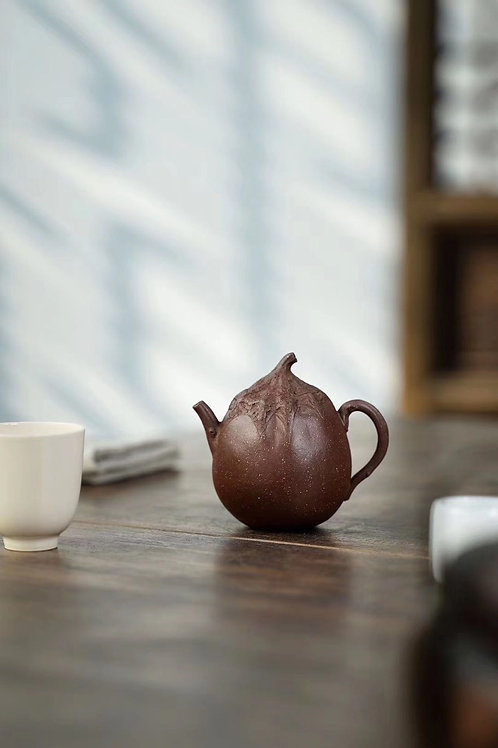 Tea Tell Truth Nature Good Hand Made Clay Tea Pot— Tall Eggplant