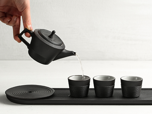 Japaness Sand Zen Garden Tea Set (Black)