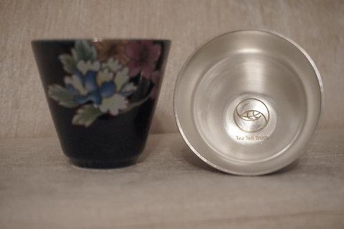 Pair of navy blue paint sliver tea cups