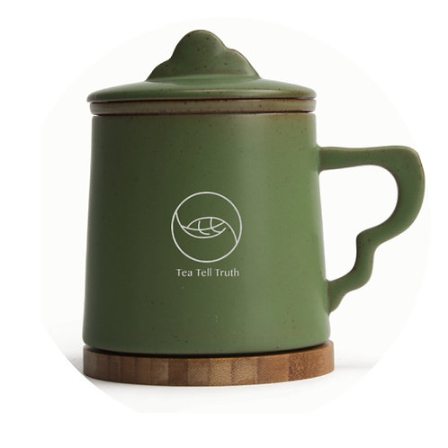 Tea Tell Truth Green clay tea mug with filter