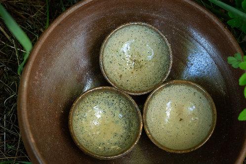 3 Black Sand Tea Cups
