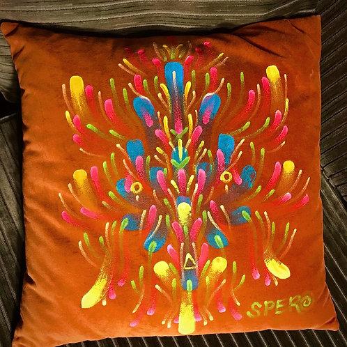Velvet brown hand~painted pillow