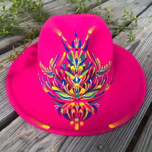 Hand~painted hot~pink Fedora Hat