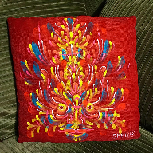 Red hand~painted pillow