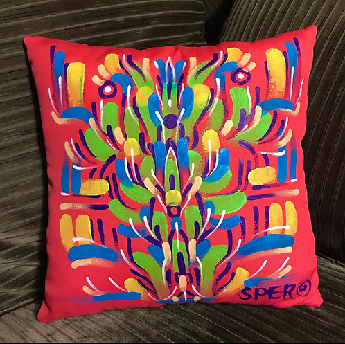 Pink hand~painted pillow