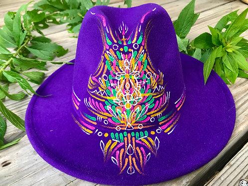 Purple hand~painted Fedora